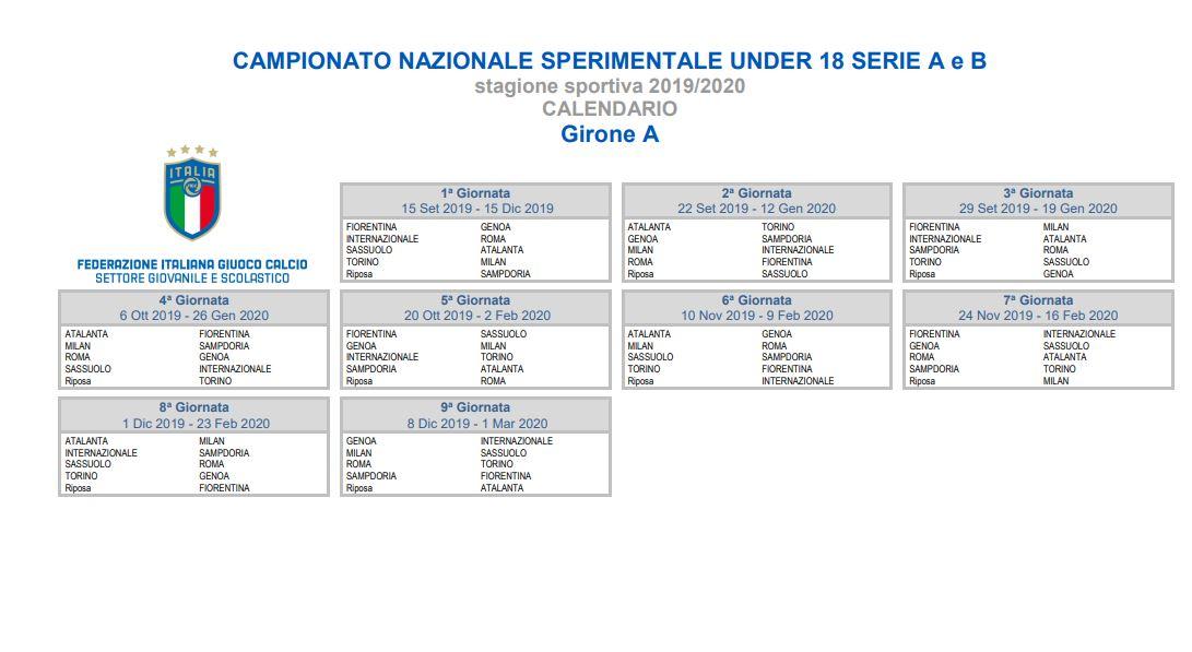 Atalanta Calendario.Under 18 Calendario Calcio Atalanta