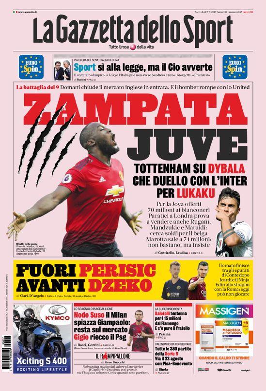 Pagina Calendario Agosto 2019.Le Prime Pagine Dei Quotidiani Sportivi Di Oggi 7 Agosto 2019